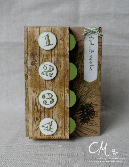 """Caros Bastelbude: Adventskalender Türchen Nr. 1, Karte """"Advent, Advent"""", mit 4 Fächern für Süßigkeiten"""
