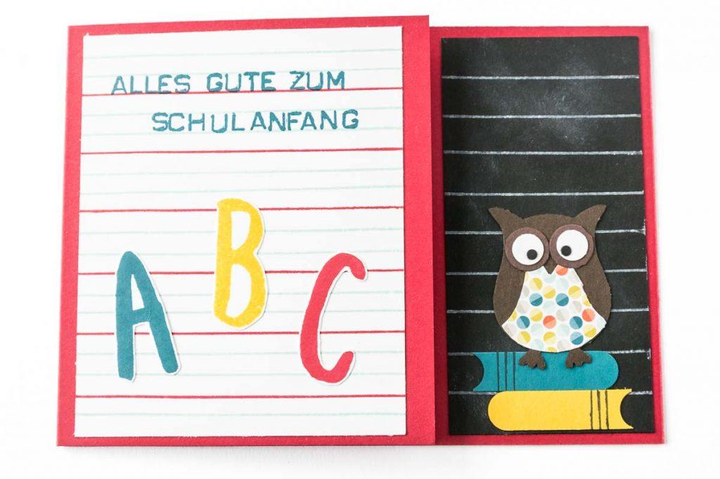 Glückwunschkarte zur Einschulung mit selbstgemachtem Designerpapier, Eulenstanze von Stampin' Up!