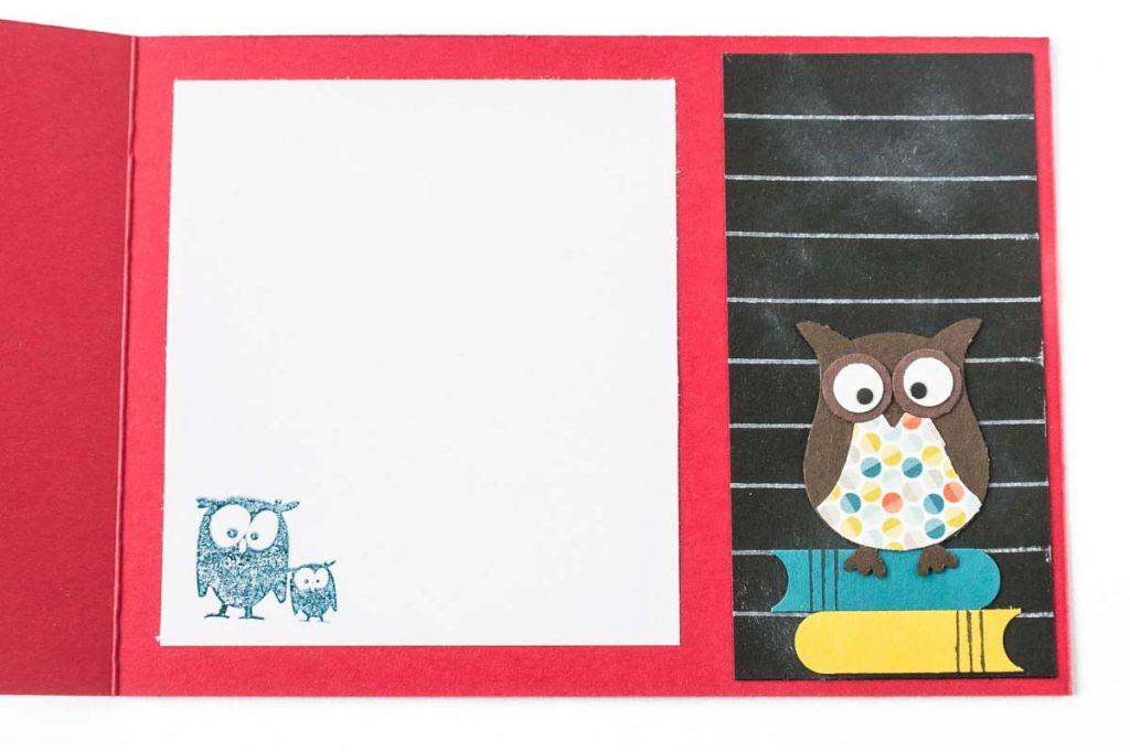 Glückwunschkarte zur Einschulung mit selbstgemachtem Designerpapier, Eulenstanze von Stampin' Up!, Innenansicht