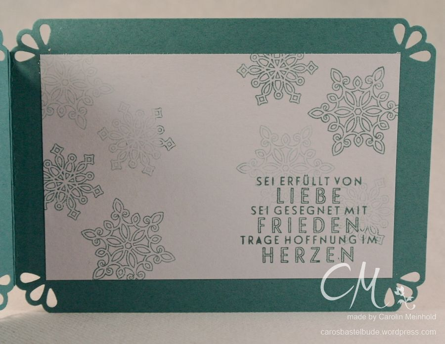 Weihnachtskarte mit Embossing Resist Technik, Flockenzauber, Stampin' Up! #CarosBastelbude carosbastelbude.wordpress.com