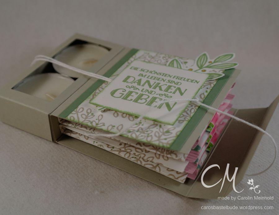 Stampin' Up! Workshop, Geschenk für die Gastgeberin, Teelichtverpackung mit Teebeutelbuch gestaltet mit dem Set Blättertanz #CarosBastelbude carosbastelbude.wordpress.com