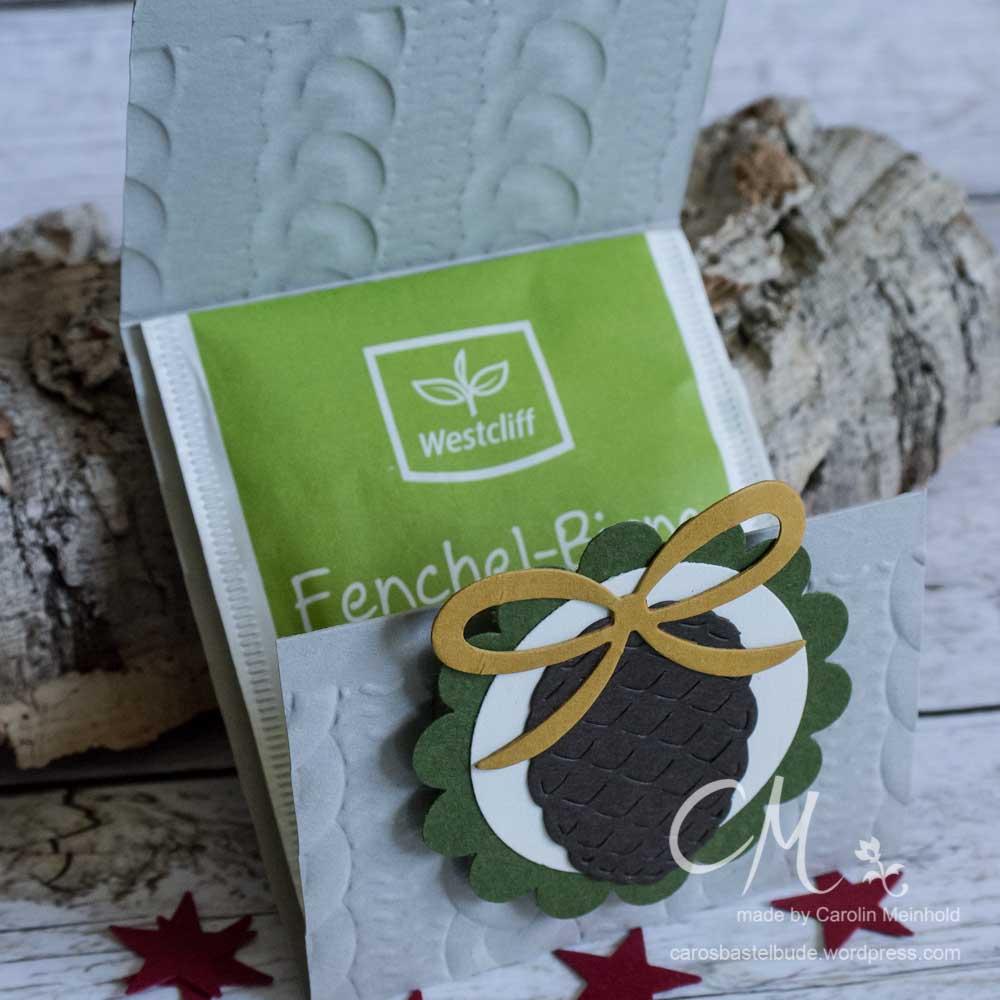 Goodies für Teebeutel, Prägeform Zopfmuster, Thinlitsformen Tannen und Zapfen #CarosBastelbude