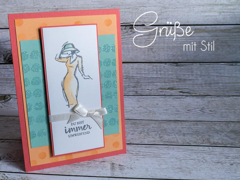 Grußkarte Mit Stil, Hintergrund mit Glitzerpulver, Stampin' Up! #CarosBastelbude