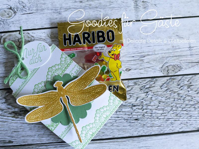 Gäste-Goodies Haribo Mini, Delicate Details & Li(e)belleien von Stampin' Up! #CarosBastelbude