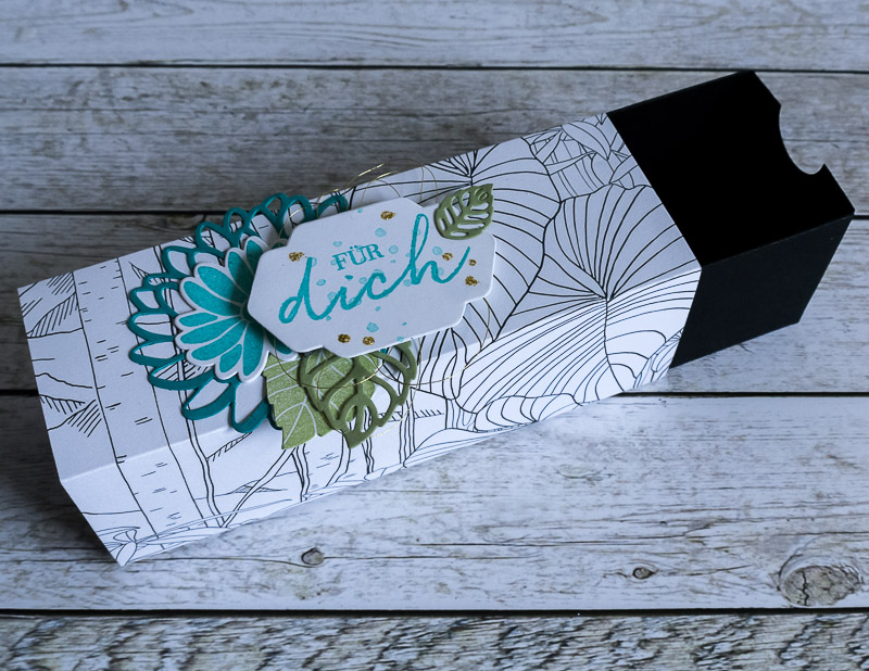 Geschenkverpackung gemacht mit dem DSP Kreativ Koloriert und dem Stempelset Besondere Grüße #CarosBastelbude
