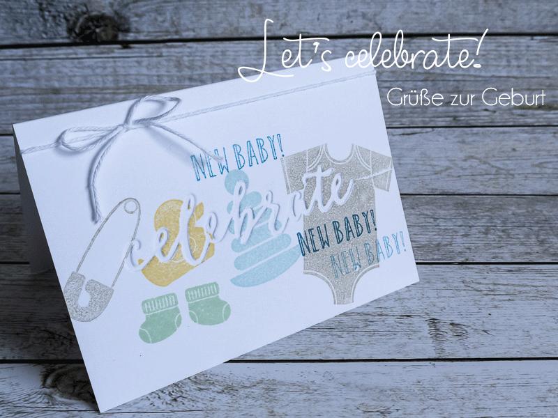 Glückwunschkarte zur Geburt mit Prägeform Feierliches Duo & Something for Baby #CarosBastelbude