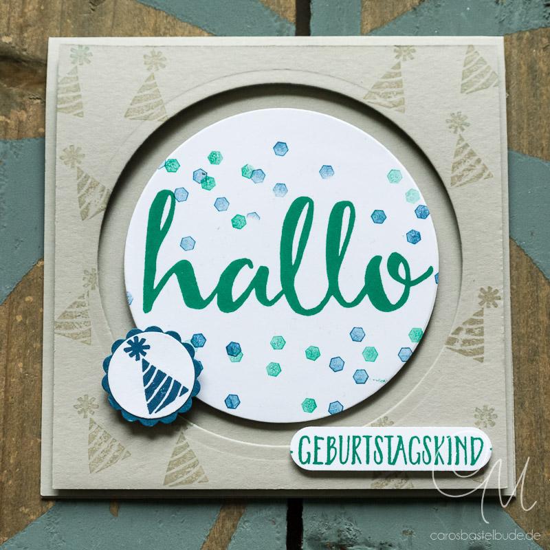 Circle Spinner Karte zum Geburtstag mit Tutorial, Stempelsets Hallo & In Partystimmung von Stampin' Up! #CarosBastelbude