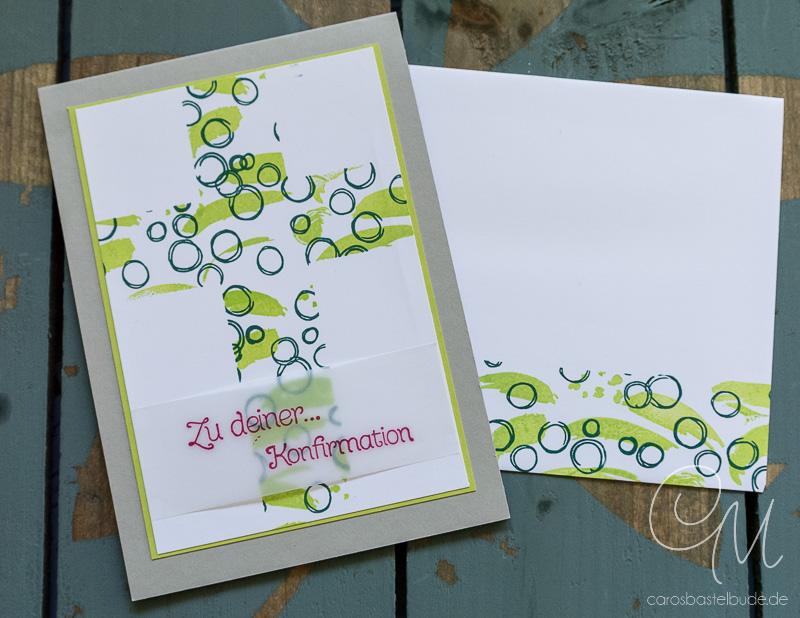 Grußkarte zur Konfirmation in den neuen Stampin' Up! InColors Limette, Meeresgrün und Sommerbeere #CarosBastelbude