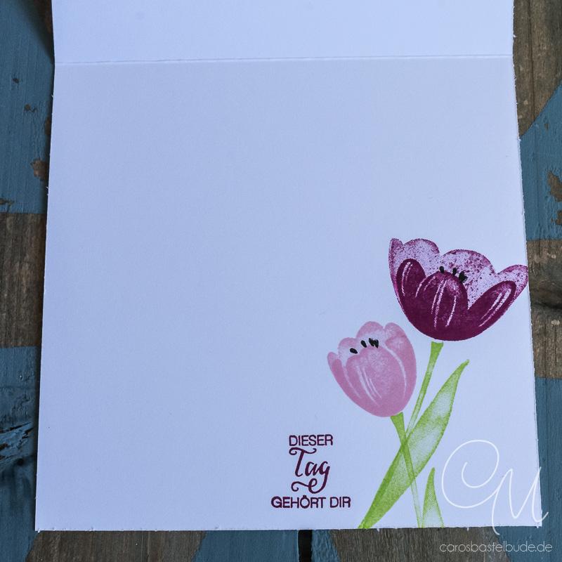 Mein Liebling des Monats im Mai gestempelt mit dem Stempelset Tranquil Tulips von Stampin' Up! und in den neuen InColors Sommerbeere, Puderrosa, Feige, Limette, Meeresgrün. #CarosBastelbude