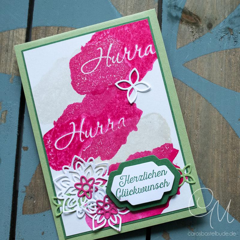 Pop Up-Karte gestaltet mit dem Stempelset Blühende Worte und Worte, wie gemalt #CarosBastelbude