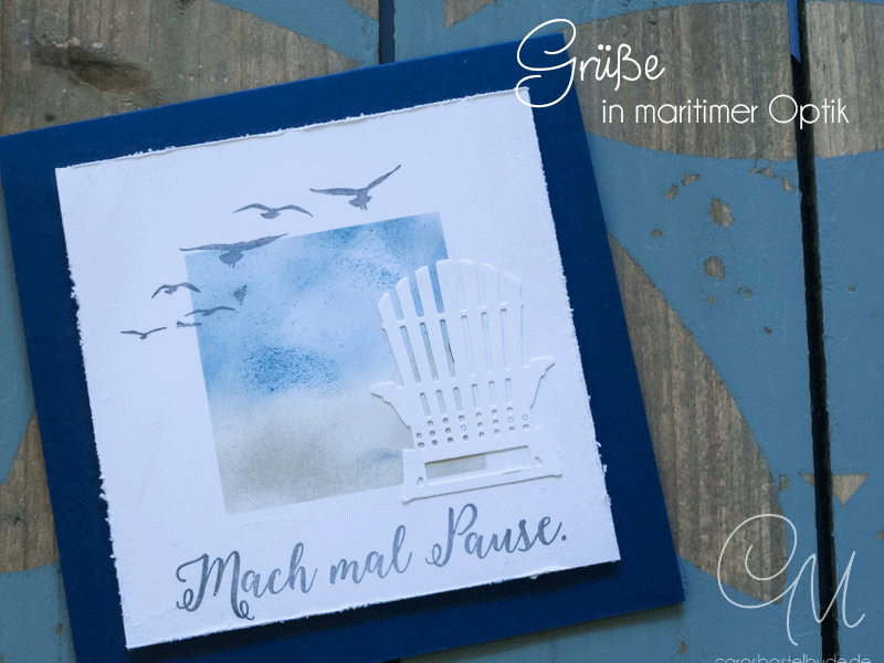 Quadratische Grußkarte in Marineblau und Flüsterweiß gestaltet mit den Stempelsets Jahr voller Farben und Durch die Gezeiten von Stampin' Up! #CarosBastelbude