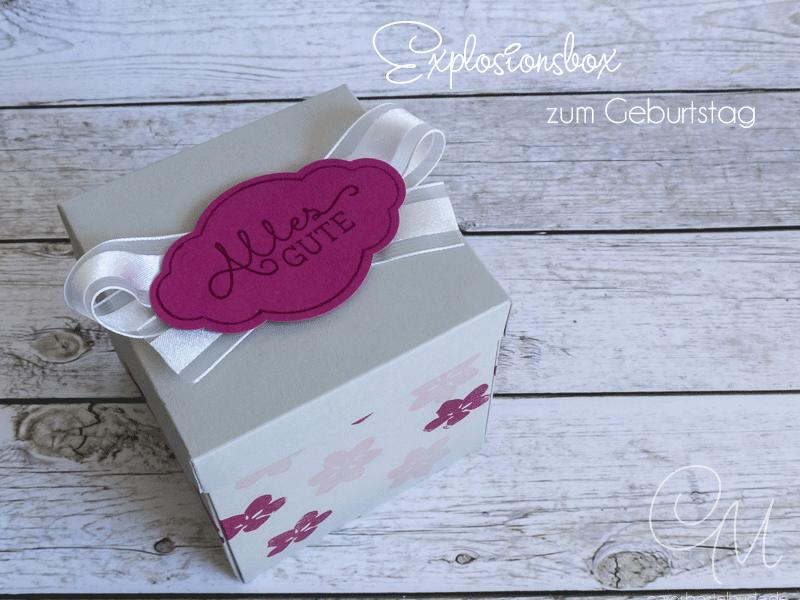 Explosionsbox zum 100. Geburtstag gestaltet mit dem Stempelset Jahr voller Farben von Stampin' Up! #CarosBastelbude