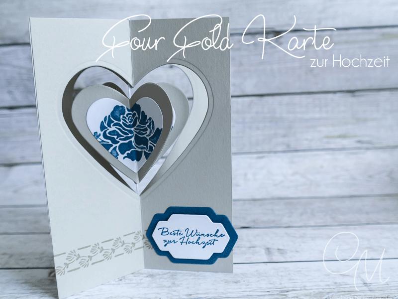 Four Fold Karte zur Hochzeit gestaltet mit dem Set Florale Grüße von Stampin' Up! #CarosBastelbude