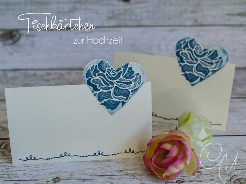 Tischkärtchen für die Hochzeitstafel, Partial Die Cutting, Stempelset Florale Grüße #CarosBastelbude