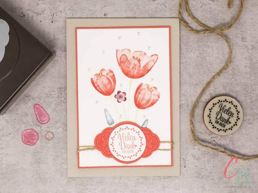 Dankeskarte zum Muttertag gestaltet mit dem Stempelset Tranquil Tulips von Stampin' Up!