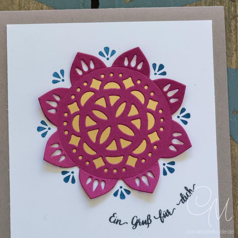 Grußkarte gestaltet mit dem Produktpaket Schönheit des Orients in den Farben Saharasand, Sommerbeere, Jeansblau und Gold. #CarosBastelbude