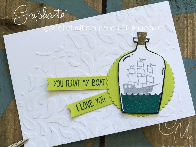 Grußkarte in Flüsterweiß und Limette, gestaltet mit der Strukturpaste und dem Stempelset Message in a Bottle von Stampin' Up! #CarosBastelbude