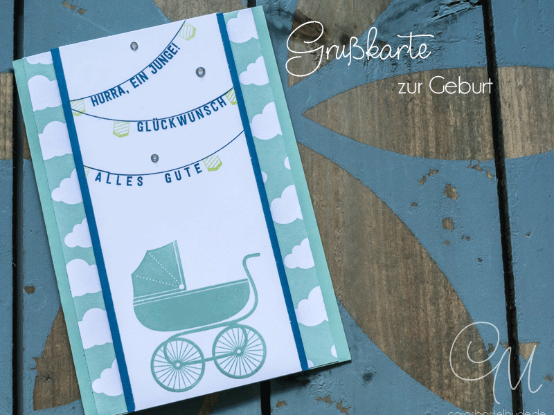Glückwunschkarte zur Geburt eines Jungen gestaltet mit den Stempelsets Something for Baby und Aus freudigem Anlass von Stampin' Up! in den Farben Jeansblau und Minzmakrone.