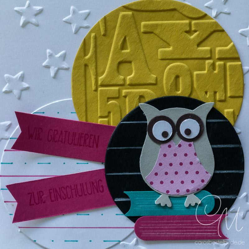 Grußkarte zum Schulanfang gestaltet mit der Elementstanze Eule von Stampin' Up! #CarosBastelbude