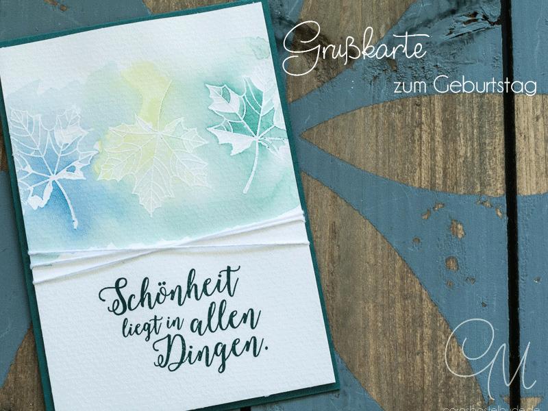 Grußkarte gestaltet in Embossing- und Aquarelltechnik, Stempelset Jahr voller Farben von Stampin' Up! #CarosBastelbude