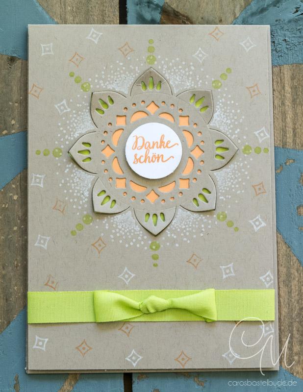 Grußkarte Dank gestaltet mit dem Produktpaket Schönheit des Orients von Stampin' Up! in den Farben Saharasand, Limette, Pfirsich Pur und Craft. #CarosBastelbude