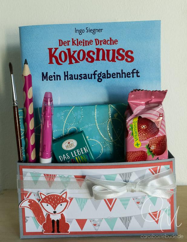 Geschenkbox zum Schulanfang, Einschulung mit dem Stempelset Foxy Friends von Stampin' Up! #CarosBastelbude