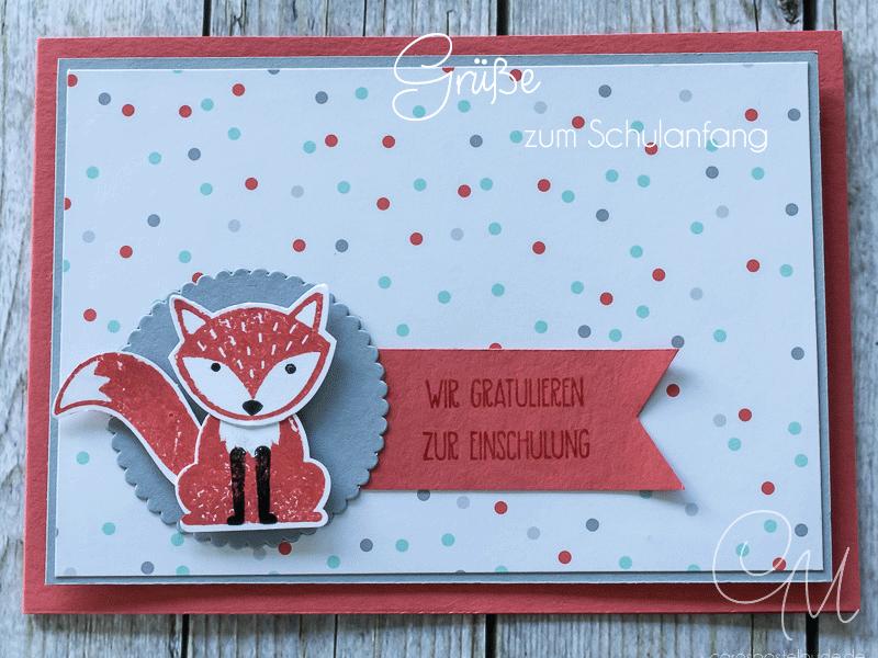 Grußkarte zum Schulanfang, Einschulung mit dem Stempelset Foxy Friends von Stampin' Up! #CarosBastelbude