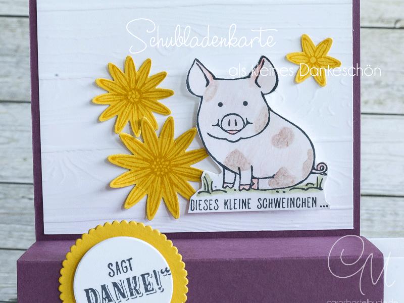 So machst du eine Schubladenkarte, gestaltet mit den Sets Glücksschweinchen von Stampin' Up!, Annual Catalog 2017, #CarosBastelbude