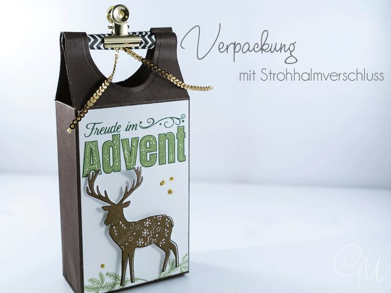Geschenkverpackung weihnachtlich gestaltet mit dem Set Freude im Advent von Stampin' Up! #CarosBastelbude