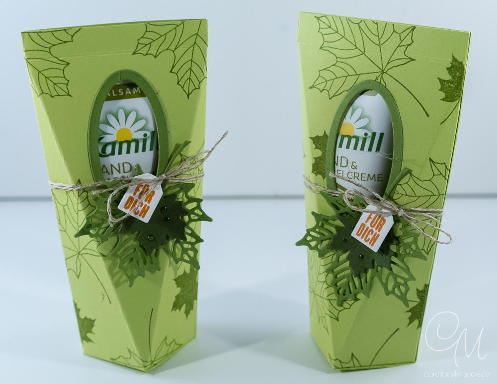 Selbstschließende Box für Handcreme gestaltet mit Jahr voller Farben von Stampin' Up! #CarosBastelbude
