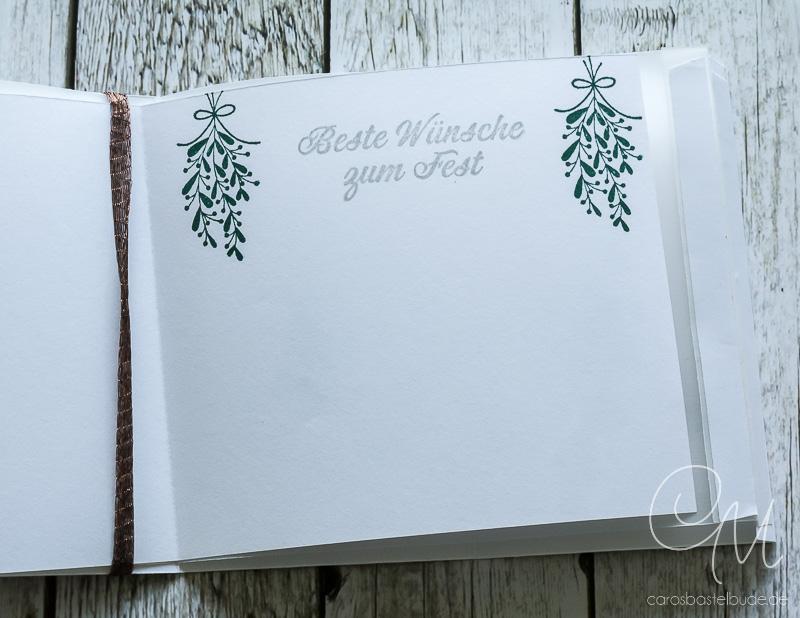 So gestaltet Ihr eine weihnachtliche Windlicht-Karte mit dem Stempelset Unterm Mistelzweig von Stampin' Up!. Anleitung zum Download auf meinem Blog. #CarosBastelbude