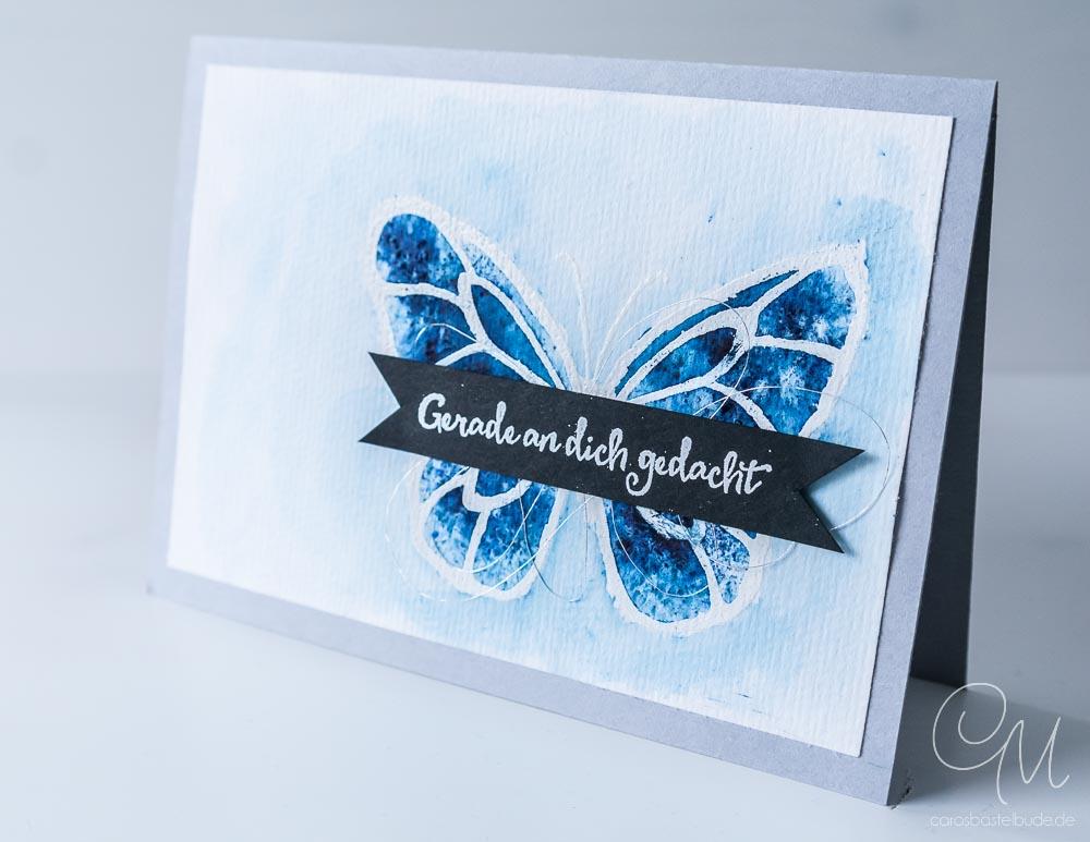 Mein Liebling des Monats - eine Grußkarte gestaltet mit dem Stempelset Wunderbarer Tag und den Brusho Crystal Colours von Stampin' Up! #CarosBastelbude