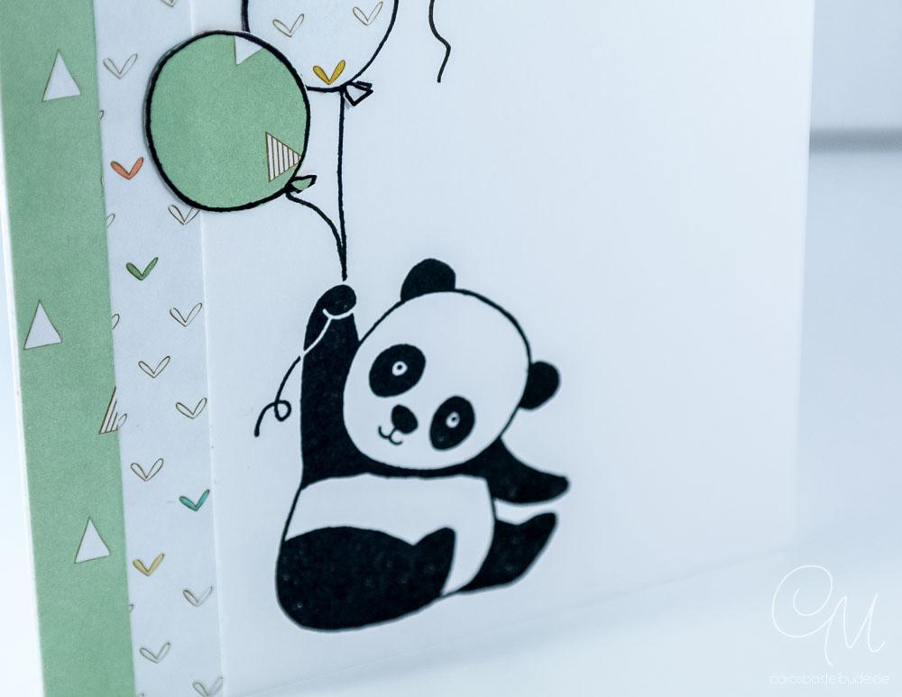 Glückwunschkarte zur Geburt mit den Party-Pandas von Stampin' Up! #CarosBastelbude