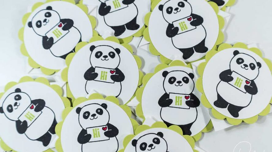 Lesezeichen gestaltet mit dem Set Party-Pandas von Stampin' Up!, Anleitung #CarosBastelbude