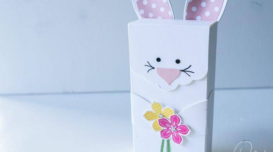 Verpackung in Form eines Osterhasen für kleine Geschenke zu Ostern gestaltet mit Produkten von Stampin' Up!, mit Anleitung #CarosBastelbude