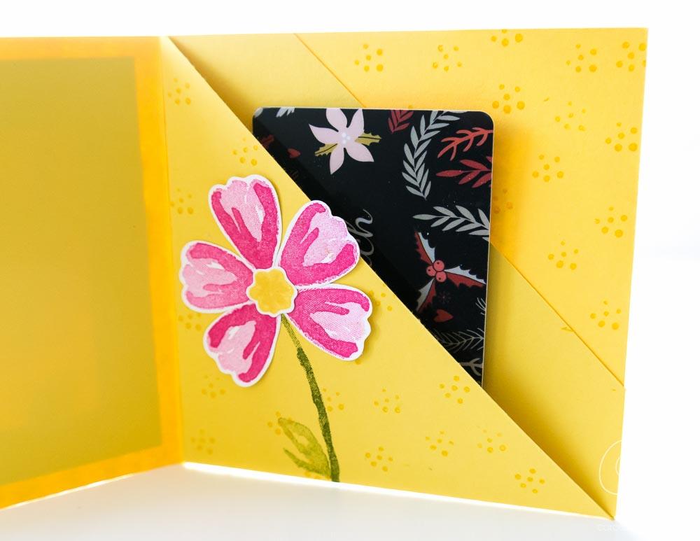 Grußkarte zum Geburtstag oder anderen Gelegenheiten mit Platz für Geld oder Gutscheinkarten gestaltet mit dem Set Das blühende Leben von Stampin' Up!, mit Anleitung #CarosBastelbude