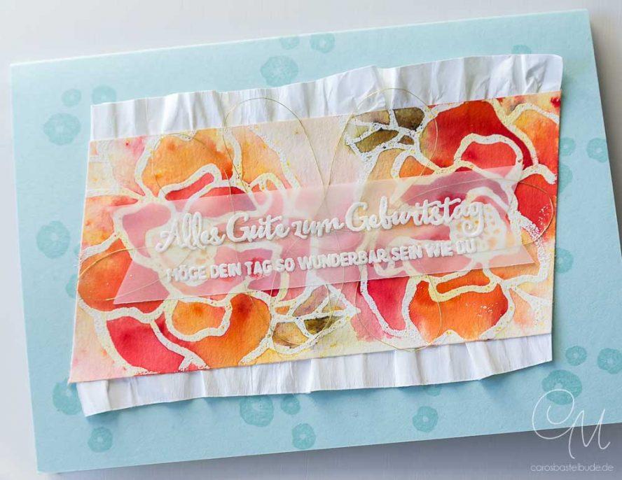Grußkarte zum Geburtstag gestaltet mit dem Stempelset Wunderbarer Tag und den Brusho Crystal Colour von Stampin' Up! #CarosBastelbude