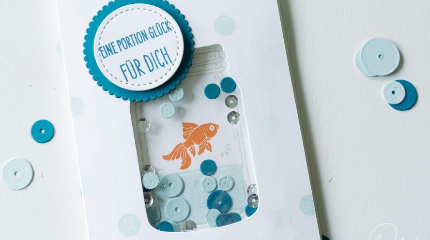 Schüttelkarte gestaltet mit dem Stempelset Glasklare Grüße von Stampin' Up!. Goldfisch im Glas. #CarosBastelbude (catalogue, Jar of Love, shaker card)