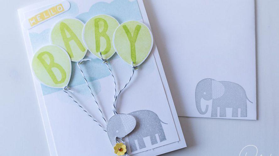 Glückwunschkarte zur Geburt eines Mädchens oder Jungen, gestaltet mit den Stempelsets Zoo Babies, Partyballons, Layered Letters und Labeler Alphabet von Stampin' Up! #CarosBastelbude