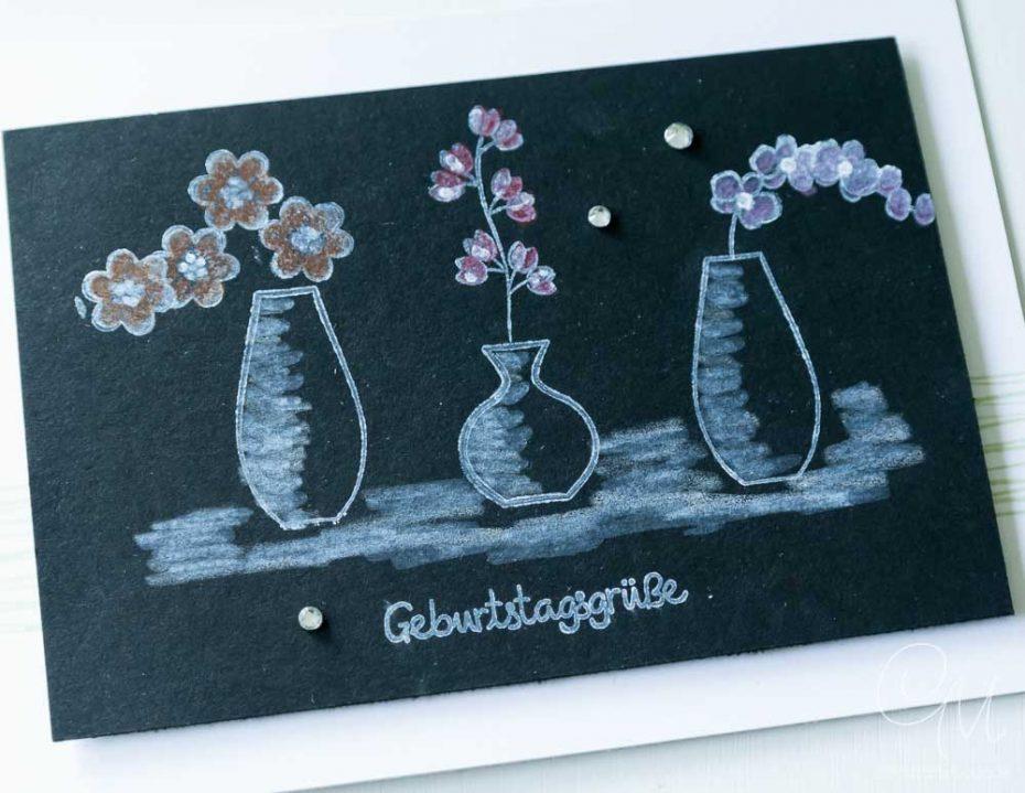 Grußkarte gestaltet mit der Black Magic Technik und dem Stempelset Wunderbarer Vasen von Stampin Up! #CarosBastelbude [Annual Catalog 2018, Vivid Vases]