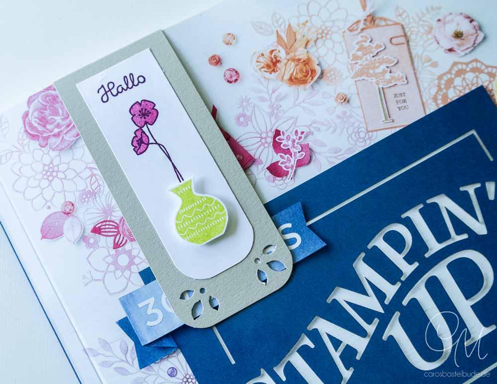 Magnet-Lesezeichen als Katalog-Goodie, gestaltet mit dem Produktpaket Wunderbare Vasen von Stampin' Up! in der Farbkombination Saharasand, Brombeermousse, Sommerbeere und Limette. #CarosBastelbude [Annual Catalog 2018, Vivid Vases]