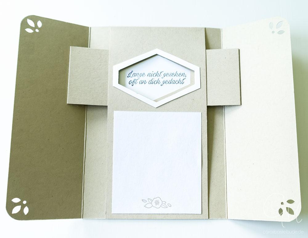 Peek-a-Boo Karte gestaltet mit dem Stempelset Blumiges Etikett von Stampin' Up!, Kartentechnik #CarosBastelbude [Annual Catalog 2018, Accented Blooms]