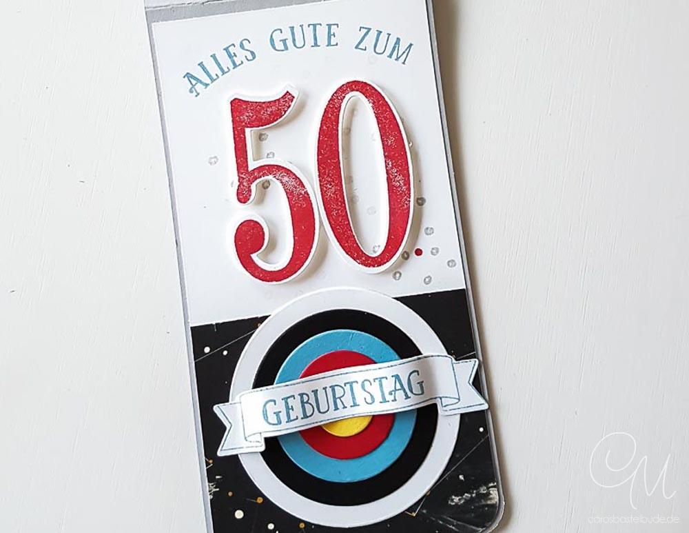 Flaschenanhänger für ein Geschenk zum 50. Geburtstag, speziell auf das Thema Bogenschießen abgestimmt #CarosBastelbude