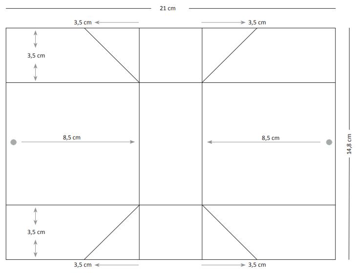 Falzmuster für die Geschenkverpackung ohne Kleben mit den Maßen 14,8 x 21 cm #CarosBastelbude
