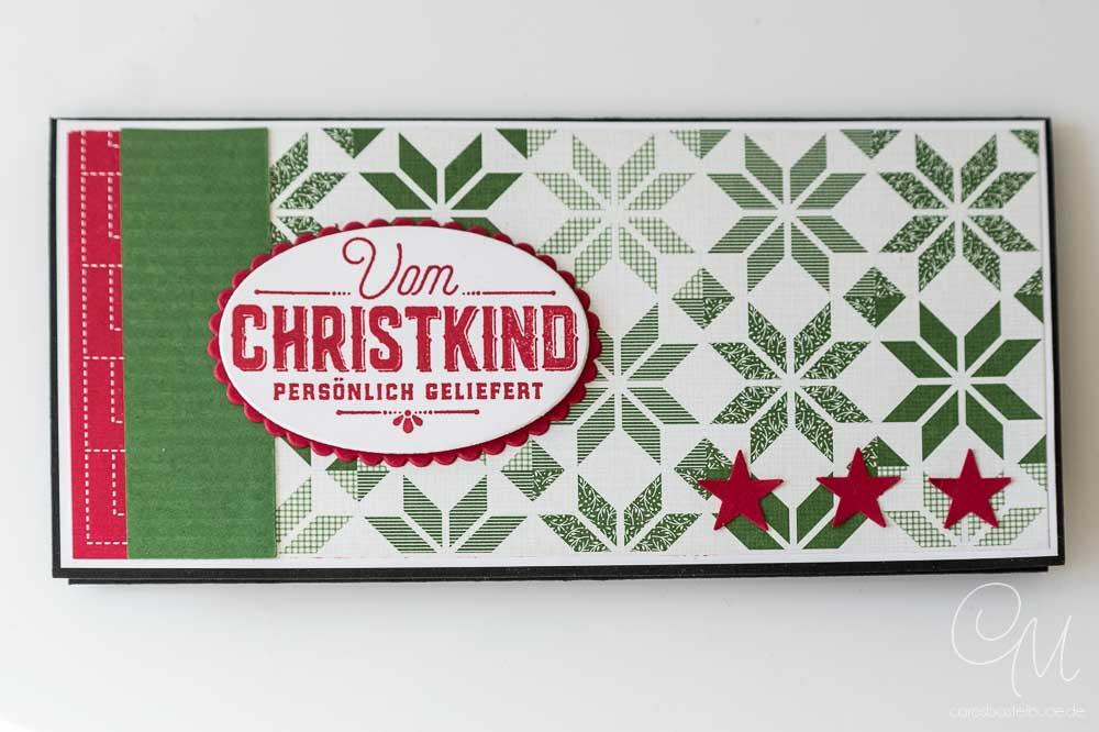 Hülle für Geldgeschenk zu Weihnachten gestaltet mit Produkten von Stampin' Up!