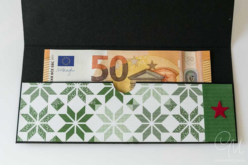 Caros Bastelbude, Geldgeschenk, Innenansicht Tasche mit Geldschein
