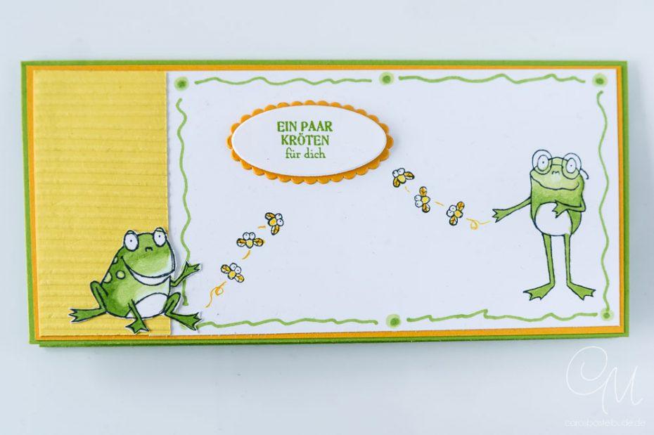 Geschenkverpackung für Geld oder Gutscheine gestaltet mit dem Stempelset Froschkönig von Stampin' Up!