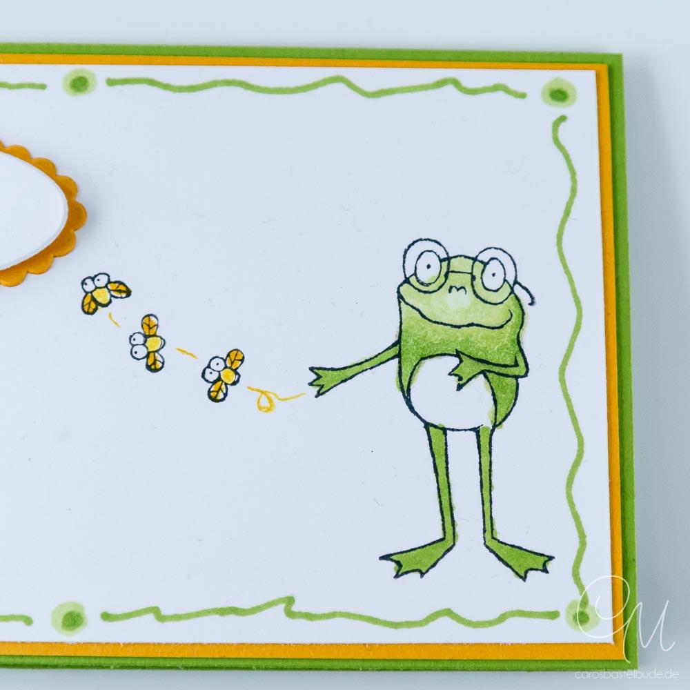 Geschenkverpackung für Geld oder Gutscheine gestaltet mit dem Stempelset Froschkönig von Stampin' Up!, Nahaufnahme Frosch 2