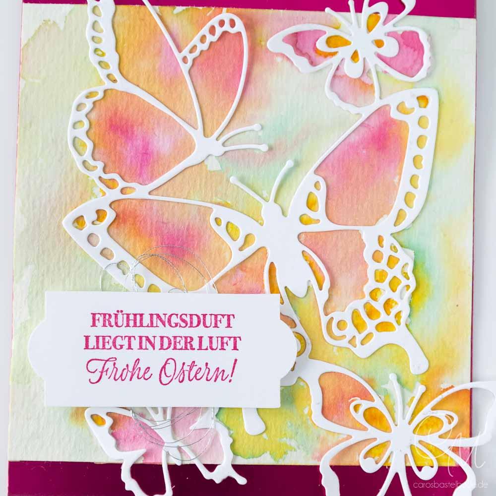 Grußkarte mit Schmetterlingen gestaltet in Aquarelltechnik und mit den Framelits Schöne Schmetterlinge von Stampin' Up!