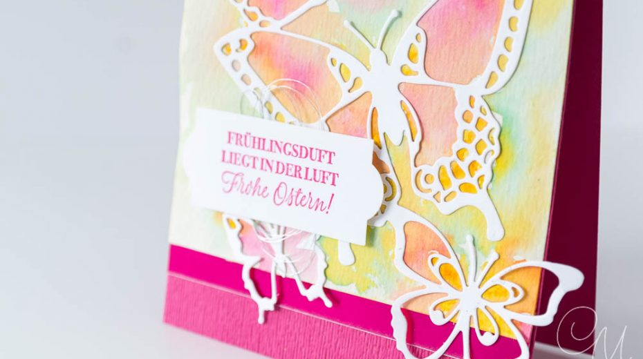 Grußkarte mit Schmetterlingen gestaltet in Aquarelltechnik und mit den Framelits Schöne Schmetterlinge von Stampin' Up!, Nahaufnahme Gruß